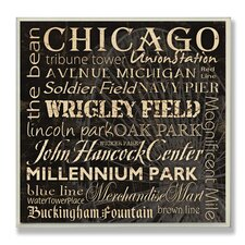 Home Décor Chicago Landmark Square Textual Art Plaque