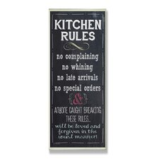 Home Décor Kitchen Rules Chalkboard Look Textual Art Plaque