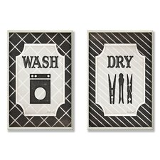 Home Décor Wash and Dry Laundry Duo 2 Piece Graphic Art Plaque Set