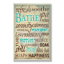 Home Décor Bathe Wash Your Worries Typography Bath Textual Art Plaque