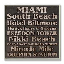 Home Décor Miami Landmark Square Textual Art Plaque