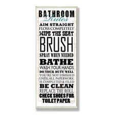 Home Décor Bathroom Rules Typography Tall Rectangle Textual Art Plaque