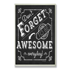Home Décor Be Awesome Inspirational Chalkboard Look Textual Art Plaque