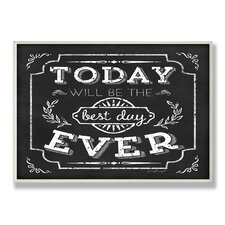 Home Décor Best Day Ever Inspirational Chalkboard Look Textual Art Plaque