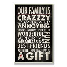 Home Décor Our Family is Crazzzy Inspirational Typography Textual Art Plaque