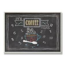 Home Décor It's Coffee O'clock Chalkboard Look Graphic Art Plaque