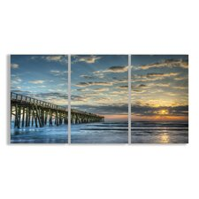 Home Décor Docking at Sundown Beach Summer Triptych 3 Piece Painting Print Set