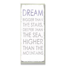 Home Décor Dream Bigger Inspirational Typography Wall Plaque