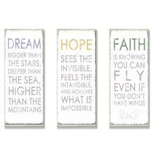 Home Décor Dream Hope Faith Inspirational Typography Trio 3 Piece Textual Art Plaque Set