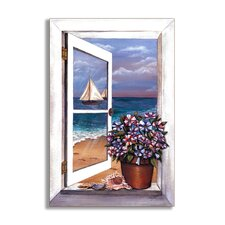 Seascape with Petunias Wooden Faux Window Scene Painting Print Plaque