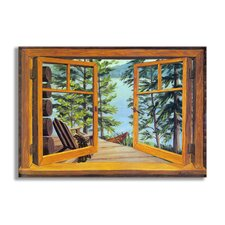 Cabin and Lake Wooden Faux Window Scene Painting Print Plaque