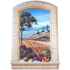The Vineyard Wooden Faux Window Scene Painting Print Plaque