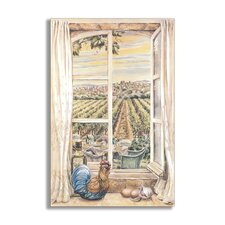 French Country Faux Window Scene Painting Print Plaque