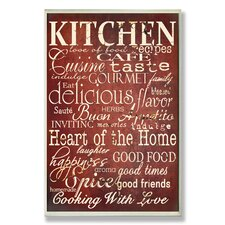 Home Décor Red Kitchen Words Textual Art Plaque