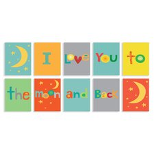 I Love You to the Moon and Back Typography 10 Piece Set