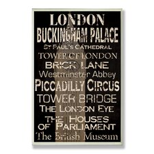 Home Décor London Cities and Words Rectangle Textual Art Plaque