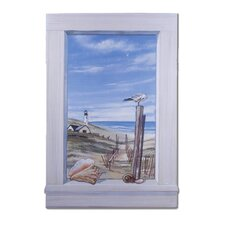 Ocean and Seagulls Wooden Faux Window Scene