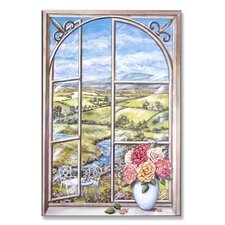<strong>Stupell Industries</strong> Iron and Cabbage Rose Wooden Faux Window Scene