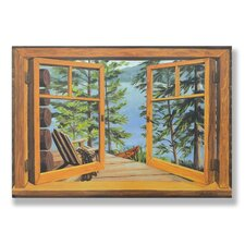 <strong>Stupell Industries</strong> Cabin and Lake Wooden Faux Window Scene