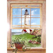 New England Light Wooden Faux Window Scene