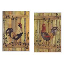 Oversized Roosters On Fence 2 Piece Kitchen Painting Print Plaque (Set of 2)