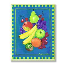 Assorted Fruit with Blue and Green Kitchen Painting Print Plaque