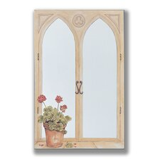 Geraniums Mirror Faux Window Painting Print Plaque