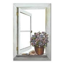 Petunias Mirror Faux Window Painting Print Plaque