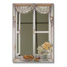 Croissant and Roses Mirror Faux Window Painting Print Plaque