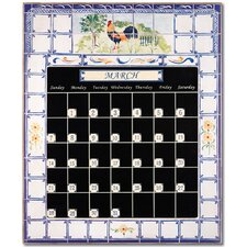 Rooster and Fence Magnetic Tile Perpetual Calendar