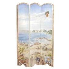 Beach Scene Oversized 3 Panel Decorative Room Screen