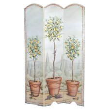 "72"" x 48"" Tuscan Topiary 3 Panel Room Divider"
