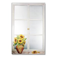 Faux Window Mirror Screen with Sunflowers Painting Print