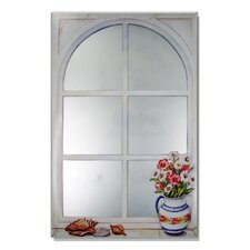 Faux Window Mirror Screen with Daisies and Shells Painting Print