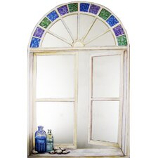 Faux Window Mirror Screen with Bottles and Stain Glass
