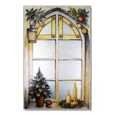 Faux Window Mirror Screen Winter Motif Painting Print