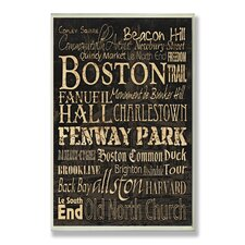 Boston Words and Cities Typography Wall Plaque