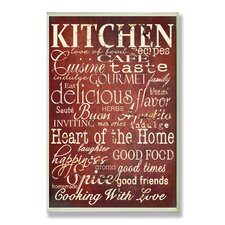 Red Kitchen Words Typography Wall Plaque
