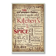 Kitchen and Spice Words Typography Wall Plaque