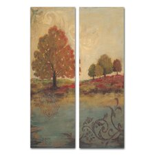 Home Décor Fall Foliage Diptych 2 Piece Painting Print Set