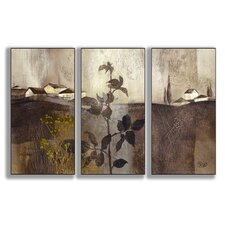 Home Décor Champagne Gold Foil Triptych 3 Piece Painting Print Set