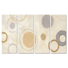 Home Décor Aqua Circle Quadtych 4 Piece Painting Print Set