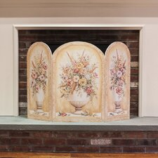 Yellow and White Vase 3 Panel MDF Fireplace Screen