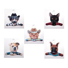 Animal Cowboy Dog / Cowboy Cat / Bull Dog / Boxer / Black Cat Clothing Hanger (Set of 5)