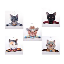 Animal Gray / Calico / Cowboy / Black / Pilot Cat Clothing Hanger (Set of 5)