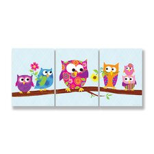 3 Piece Kids Room Triptychs Owls on Branch Hanging Art Set
