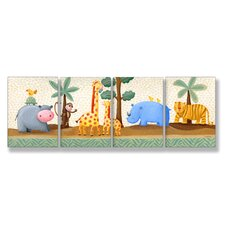 Kids Room Triptychs Hippo Giraffe Rhino Tiger Hanging Art (Set of 4)