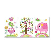 3 Piece Kids Room Triptychs Owls Elephants and Birds Hanging Art Set