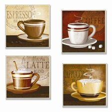 Home Décor Squares Espresso, Coffee, Latte, Cappuccino 4 Piece Painting Print Plaque Set (Set of 4)