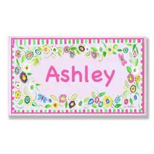 Kids Room Personalization Floral Wall Plaque